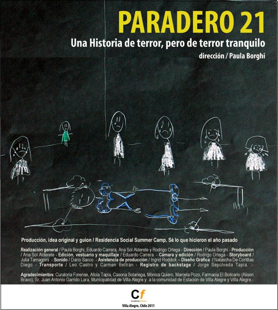 Afiche de la película Paradero 21. Febrero, 2011.