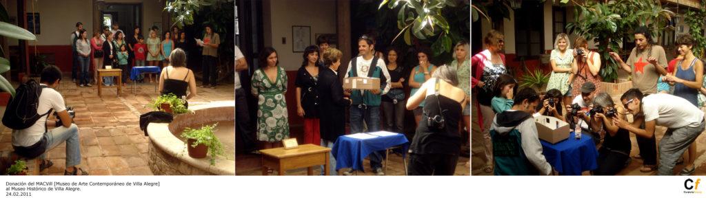 Donación del MACVIll - Museo de Arte Contemporáneo de Villa Alegre al Museo Histórico de Villa Alegre. Idea original: David Kamal. Villa Alegre, 24.02.2011